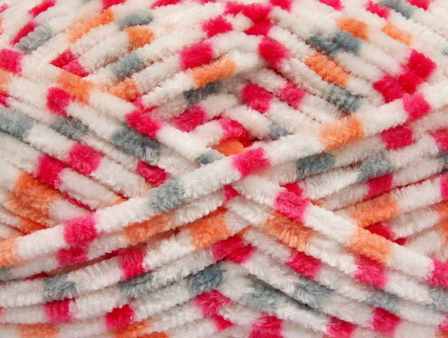 Chenille Baby Colors White Pink Orange Grey